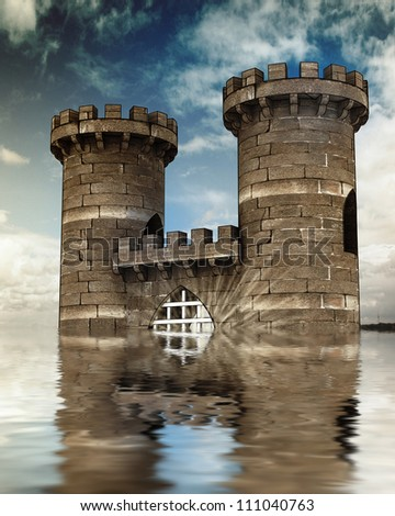 Old medieval gate with closed steel lattice and two guard towers afload with water background with blue sky and reflections - stock photo