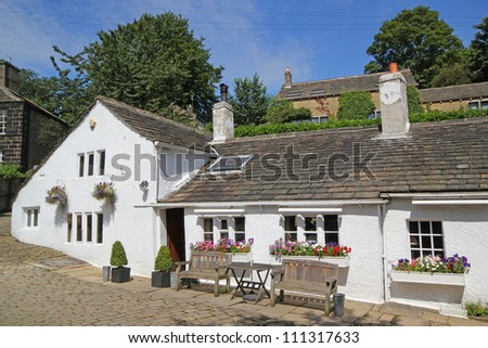 Old medieval public house, Ripponden, West Yorkshire, Calderdale, UK - stock photo