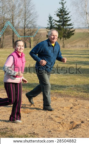 old men with girl on - stock photo