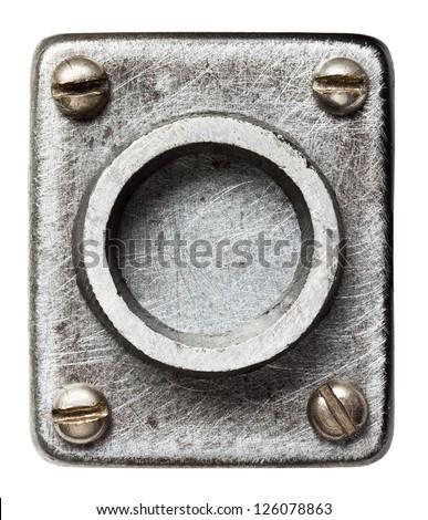Old metal alphabet letter O - stock photo