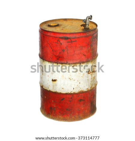 old metal barrel oil isolated on white background, with clipping path - stock photo