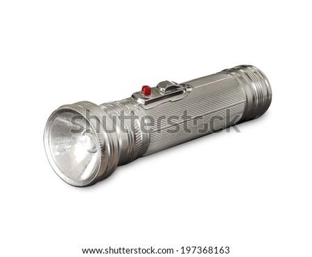 Old metal flashlight - stock photo