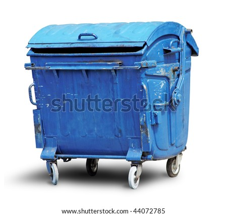 Old metal garbage container isolated on white with clipping path - stock photo