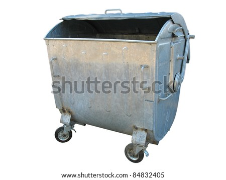 Old metal garbage trash container isolated on white background - stock photo