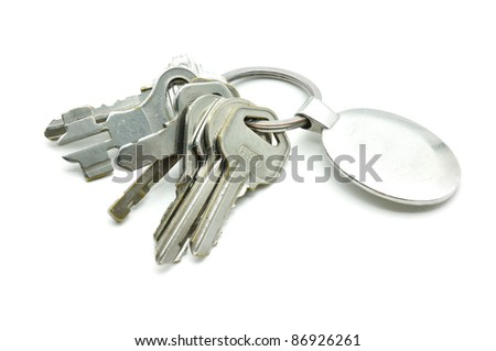 old metal keys isolated on white background - stock photo