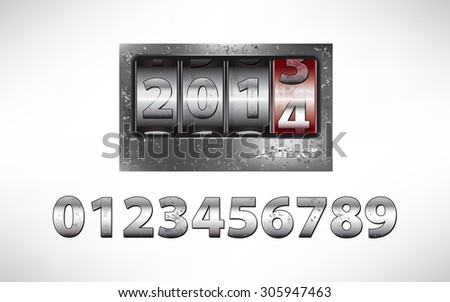 Old metal mechanical counter with year 2014 - stock photo
