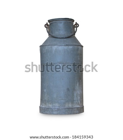 Old metal milk can on white background - stock photo