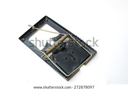 Old Metal mousetrap on a white background - stock photo