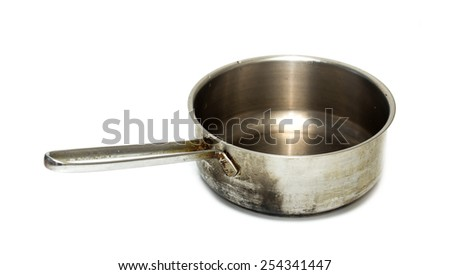 old metal pan on a white background - stock photo
