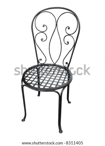 Old Metal Patio Chair - stock photo