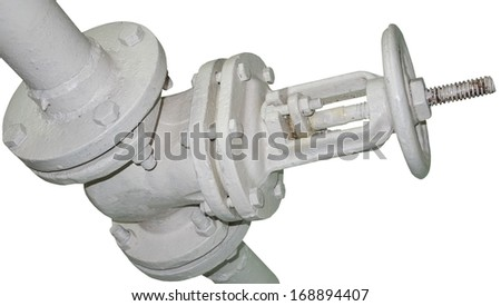 old metal pipe with valve - stock photo
