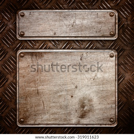 old Metal plate for design - stock photo