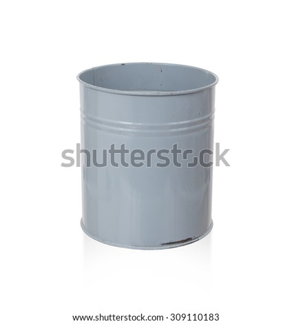 Old metal trash bin, isolated on white - stock photo