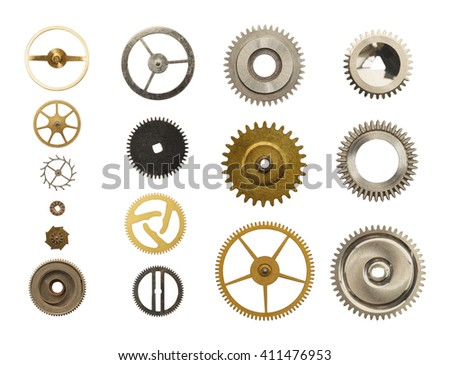 Old Metal Watch Gears Isolated on White Background. - stock photo