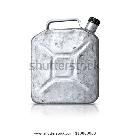 Old metallic gasoline jerry can isolated on white - stock photo
