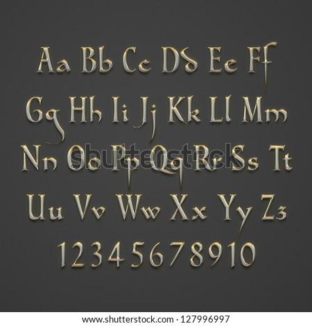 Old Metallic Text Alphabet on grey background - stock photo