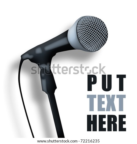 Old microphone with space for text. - stock photo