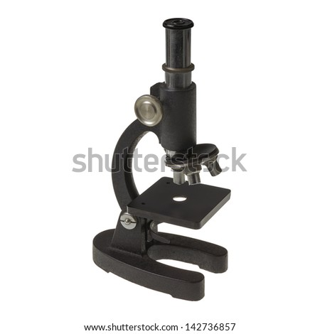 old microscope retro object technology rust isolated - stock photo