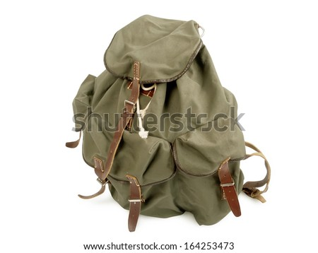 old military backpack isolated on white background - stock photo