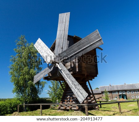 old mill wooden, Mandrogi crafts village on the Svir rive. Russia - stock photo