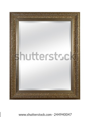 old mirror with vintage frame isolated on white background - stock photo