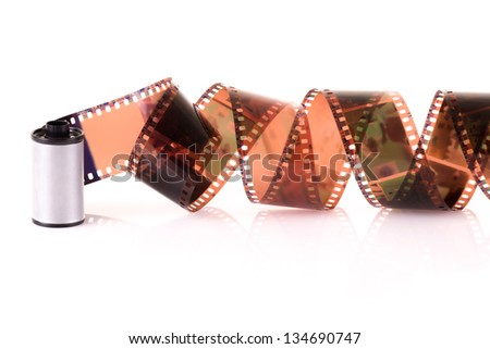 Old 35 mm negative film strip - stock photo