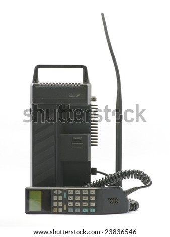 old mobile phone isolated on the white background - stock photo