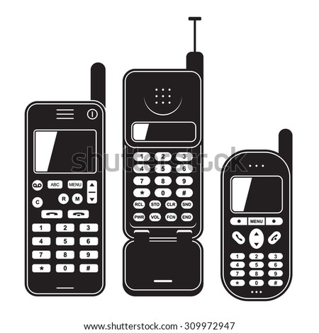 Old mobile phone set 90's. Black and white - stock photo