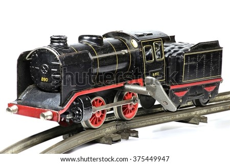 old model railway isolated on white background - stock photo