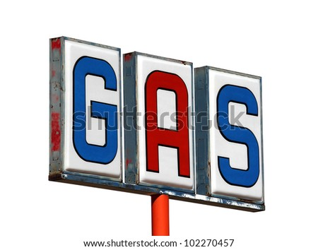 Old mojave desert gas sign isolated on white. - stock photo