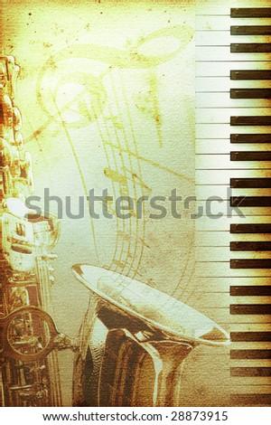 old moldy blues or jazz background - stock photo