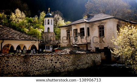 old monastery in bulgarian Rhodope mountain - stock photo