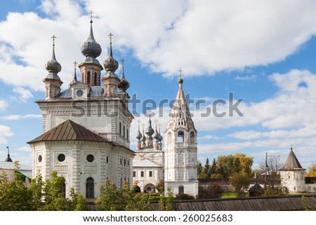 Old Monastery of the Archangel Michael in city Yuriev-Polskiy, Russia - stock photo