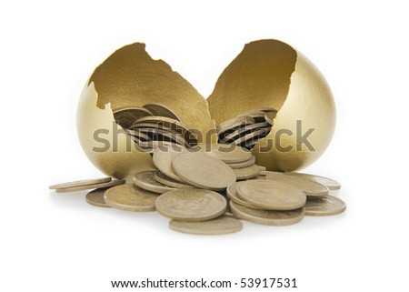 Old money and broken gold egg,on white background. - stock photo
