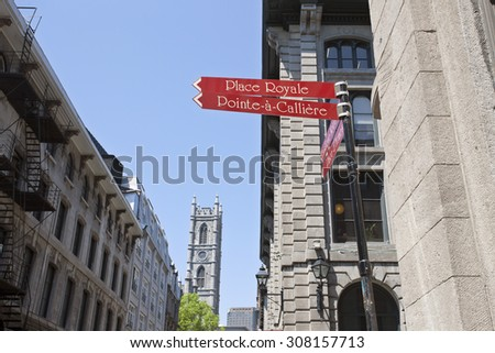Old Montreal downtown urban architecture waterfront - stock photo
