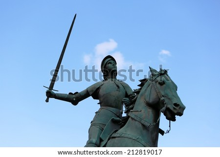 Old Monument of Jeanne d'Arc (Joan of Arc) - stock photo