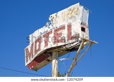 old motel sign by olancha california.usa - stock photo