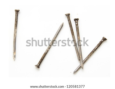 old nail on white background - stock photo