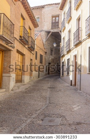 old narrow medieval streets of the resort town of Toledo, Spain - stock photo
