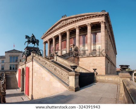 Old National Gallery in Berlin, Germany, three quarters view - stock photo