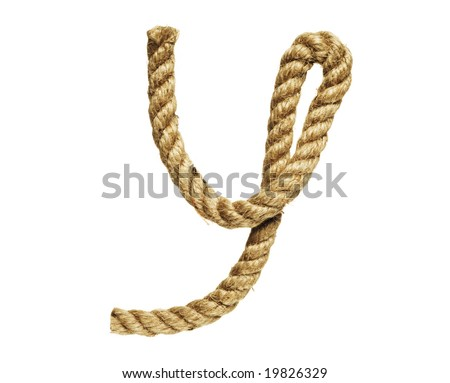 old natural fiber rope bent in the form of letter Y - stock photo