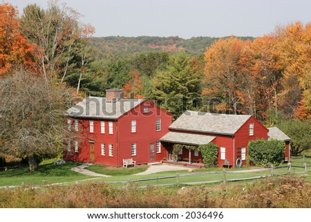 Old New England Architecture set off in Fall colors - stock photo