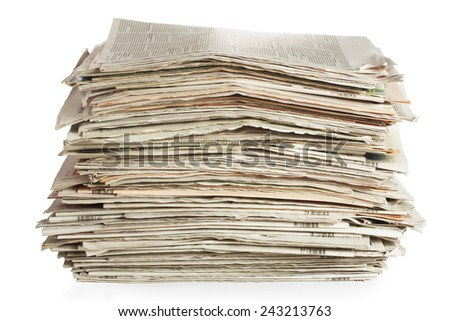 Old newspapers isolated on white background  - stock photo