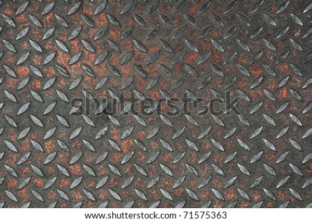 old non-skid metal painted diamond plate background texture - stock photo