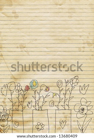 old note paper with kid art - stock photo