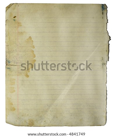 Old notebook lined page with big stain and fold. Isolated on white with clipping paths - stock photo