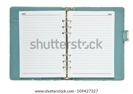 old notebook open isolated on white background with clipping path - stock photo
