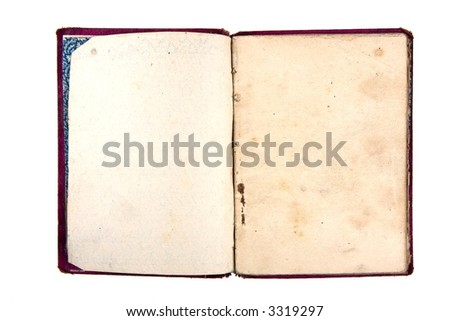 Old notebook with blank pages isolated on white - stock photo