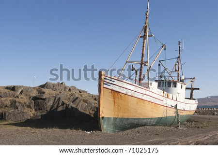 Old Oak fishing ship in Iceland - stock photo