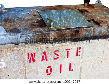 old oil waste bin - stock photo